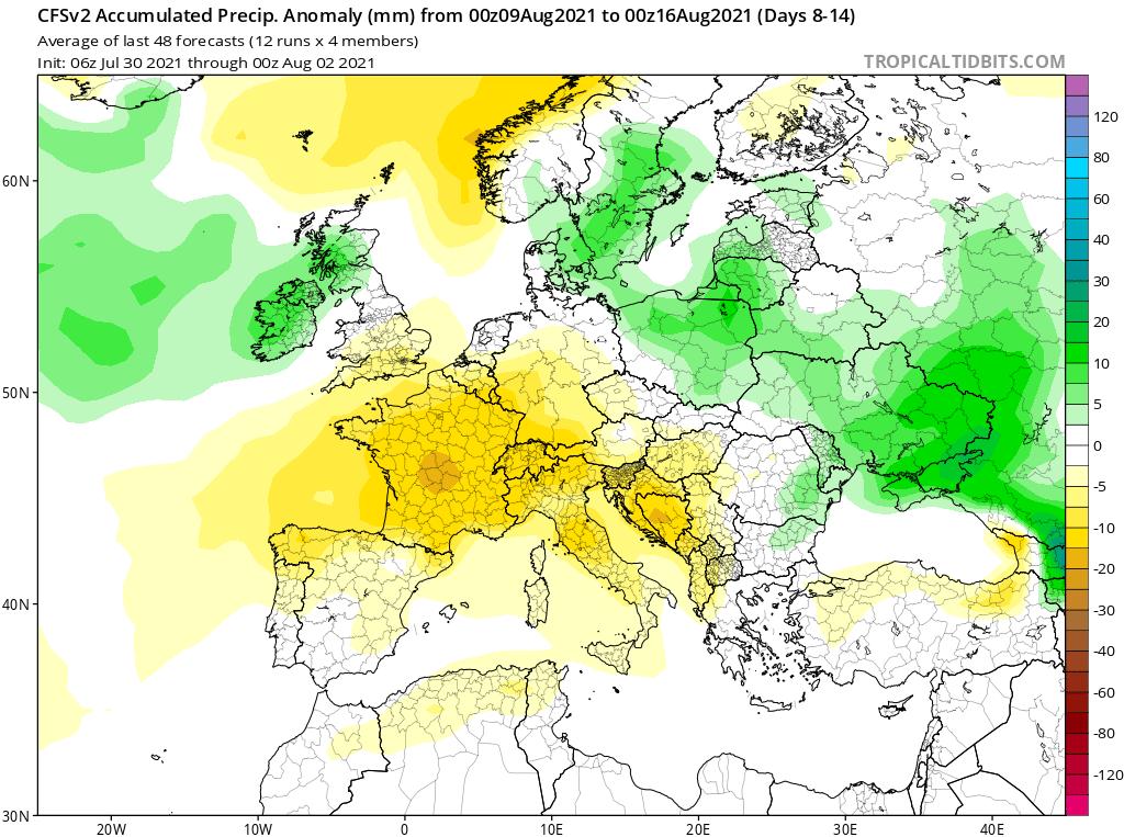 Modelos de Precipitación semanal Agosto GFS 2ª Semana .Meteosojuela La Rioja