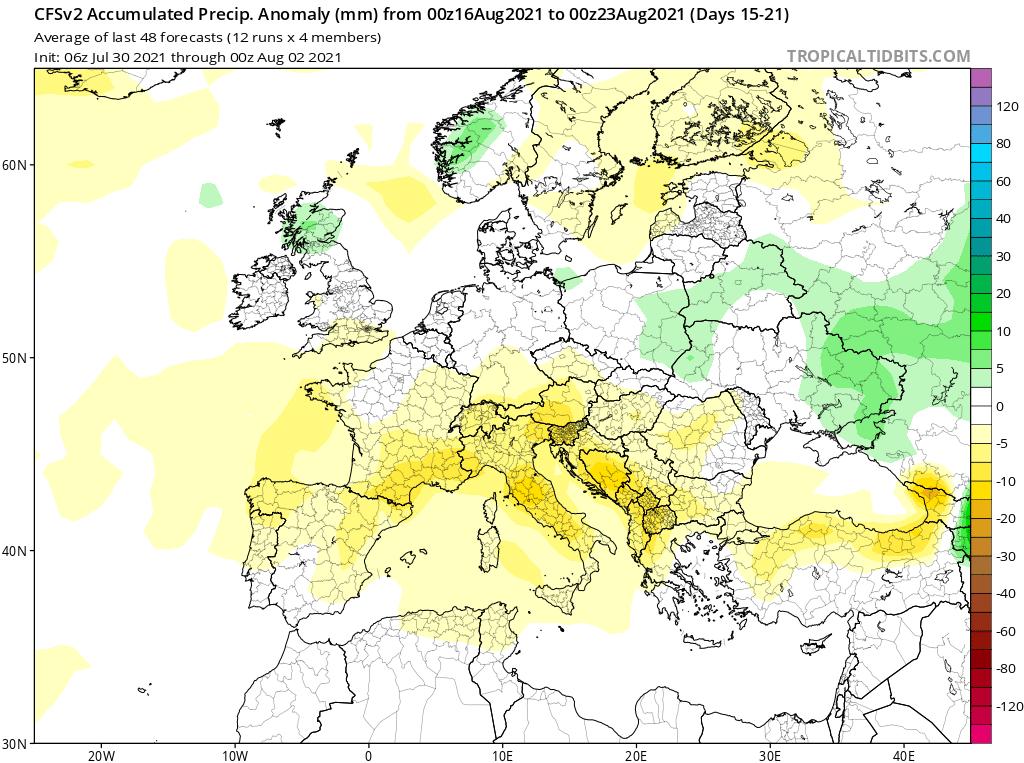 Modelos de Precipitación semanal Agosto GFS 3ª Semana .Meteosojuela La Rioja