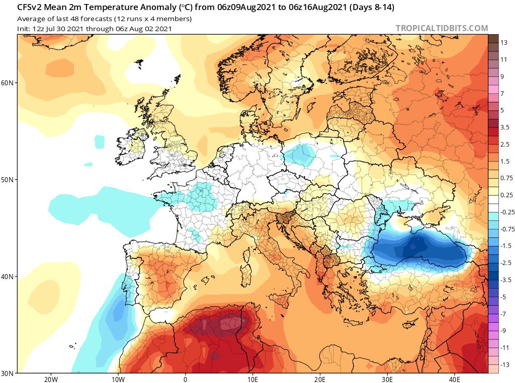 Modelos de Temperatura semanal Agosto GFS 2ª Semana .Meteosojuela La Rioja
