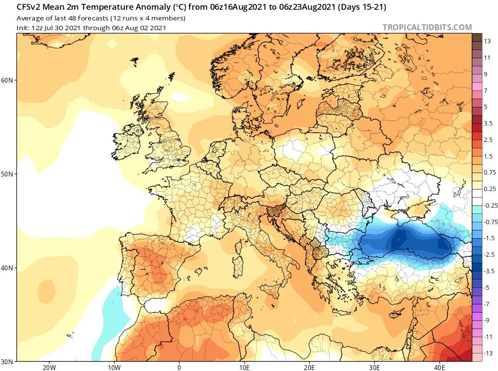Modelos de Temperatura semanal Agosto GFS 3ª Semana .Meteosojuela La Rioja