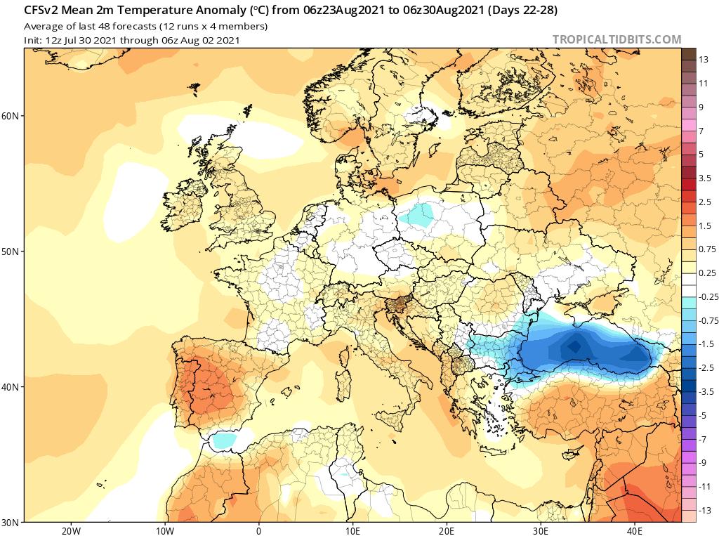 Modelos de Temperatura semanal Agosto GFS 4ª Semana .Meteosojuela La Rioja