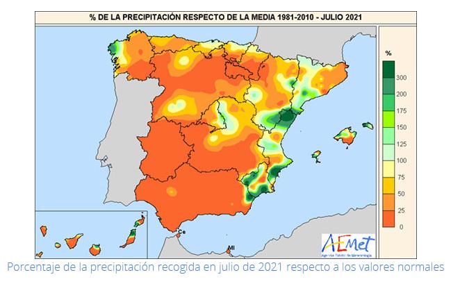 Porcentaje de la precipitación recogida en julio de 2021 respecto a los valores normales.Meteosojuela.