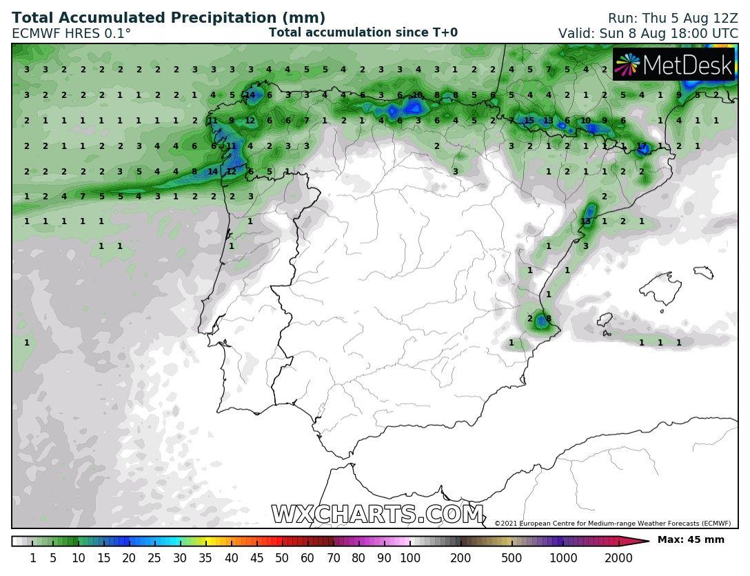Precipitación acumulada ECMWF Meteosojuela