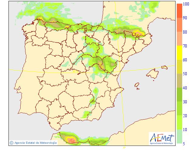 Probabilidad de precipitación según AEMET. 11 Meteosojuela La Rioja