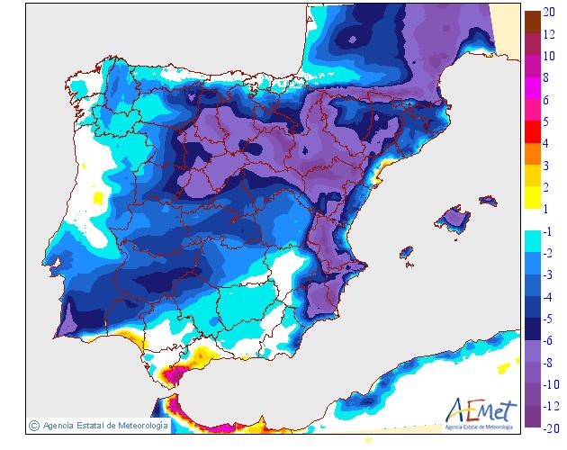 Variación de temperaturas máximas AEMET. 1608 Meteosojuela