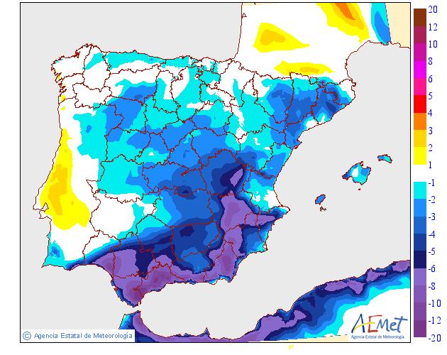 Variación de temperaturas máximas AEMET. 1708 Meteosojuela