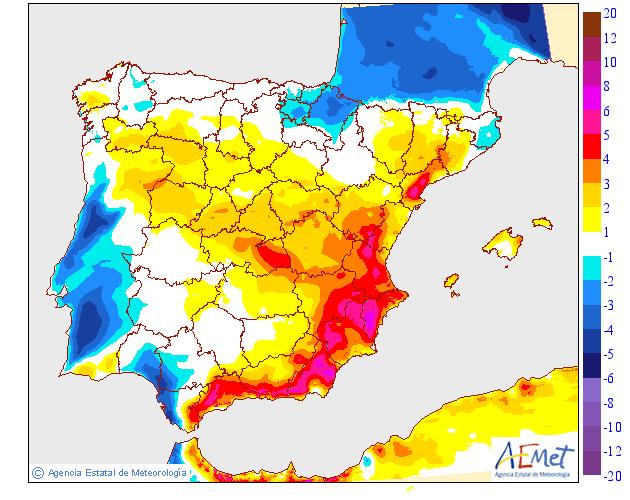 Variación de temperaturas máximas AEMET. 27 Meteosojuela