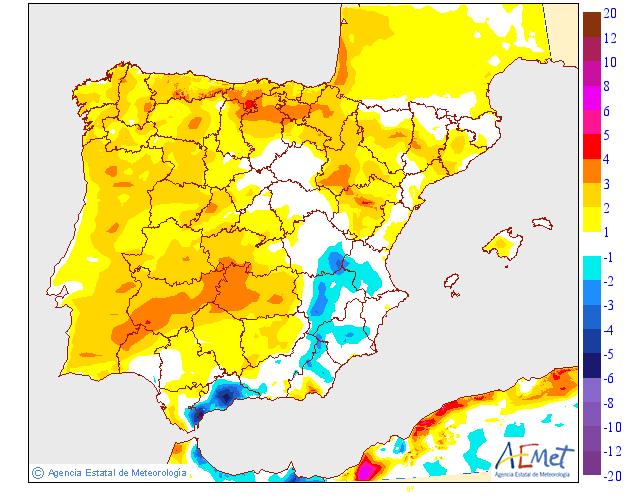 Variación de temperaturas máximas AEMET. 31 Meteosojuela
