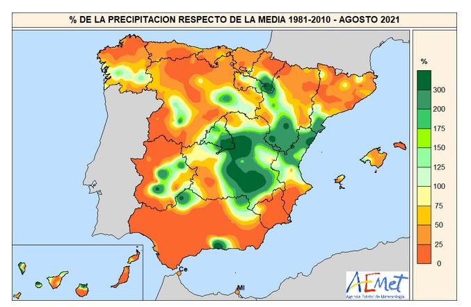 Porcentaje de la precipitación recogida en Agosto de 2021 respecto a los valores normales.Meteosojuela.