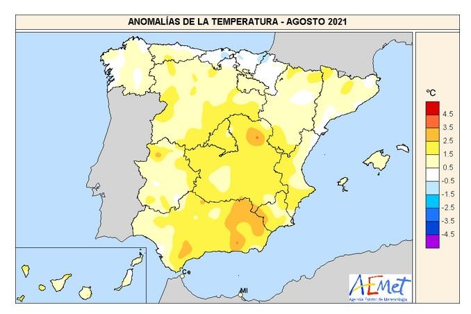 Anomalía Temperaturas Agostol 2021. AEMET. Meteosojuela