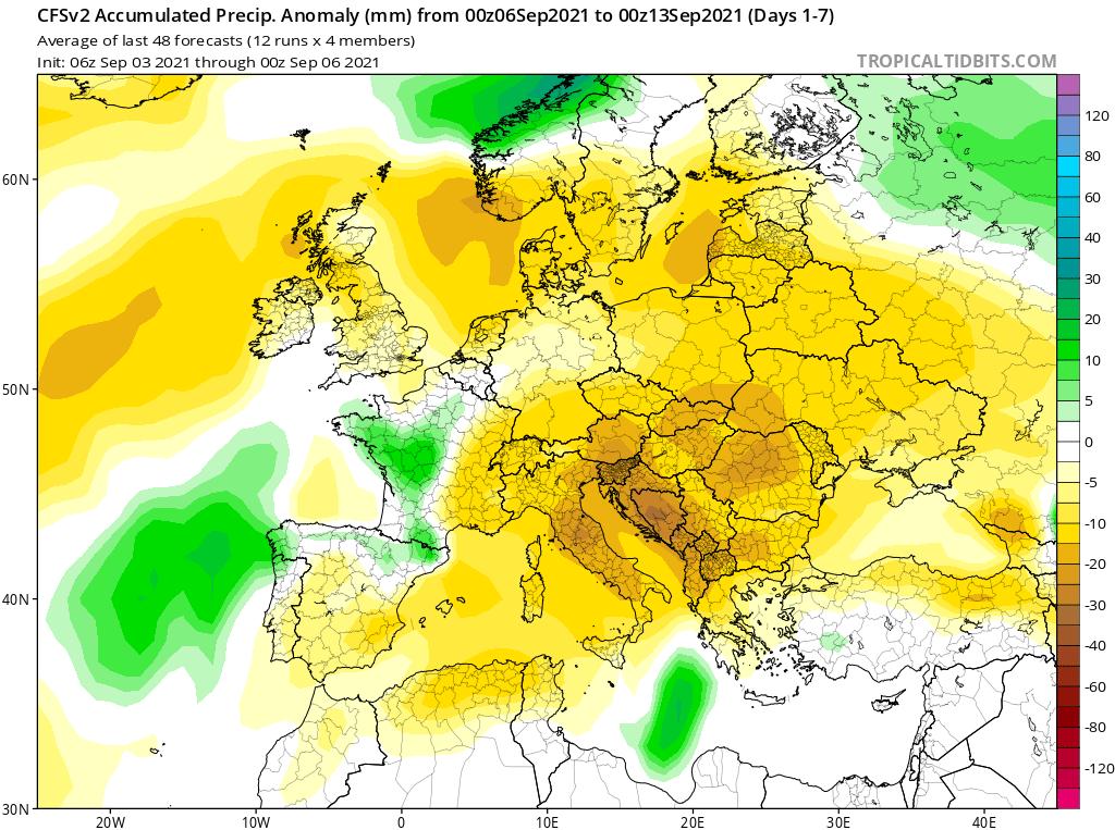 Modelos de Precipitación semanal Septiembre GFS 1ª Semana .Meteosojuela La Rioja