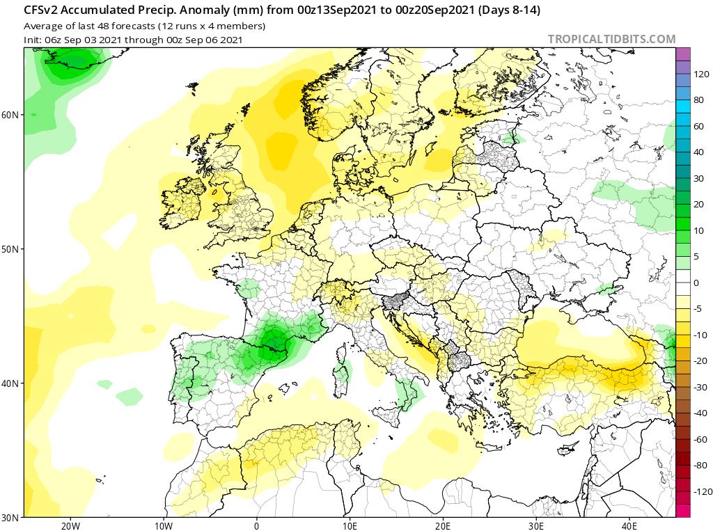 Modelos de Precipitación semanal Septiembre GFS 2ª Semana .Meteosojuela La Rioja