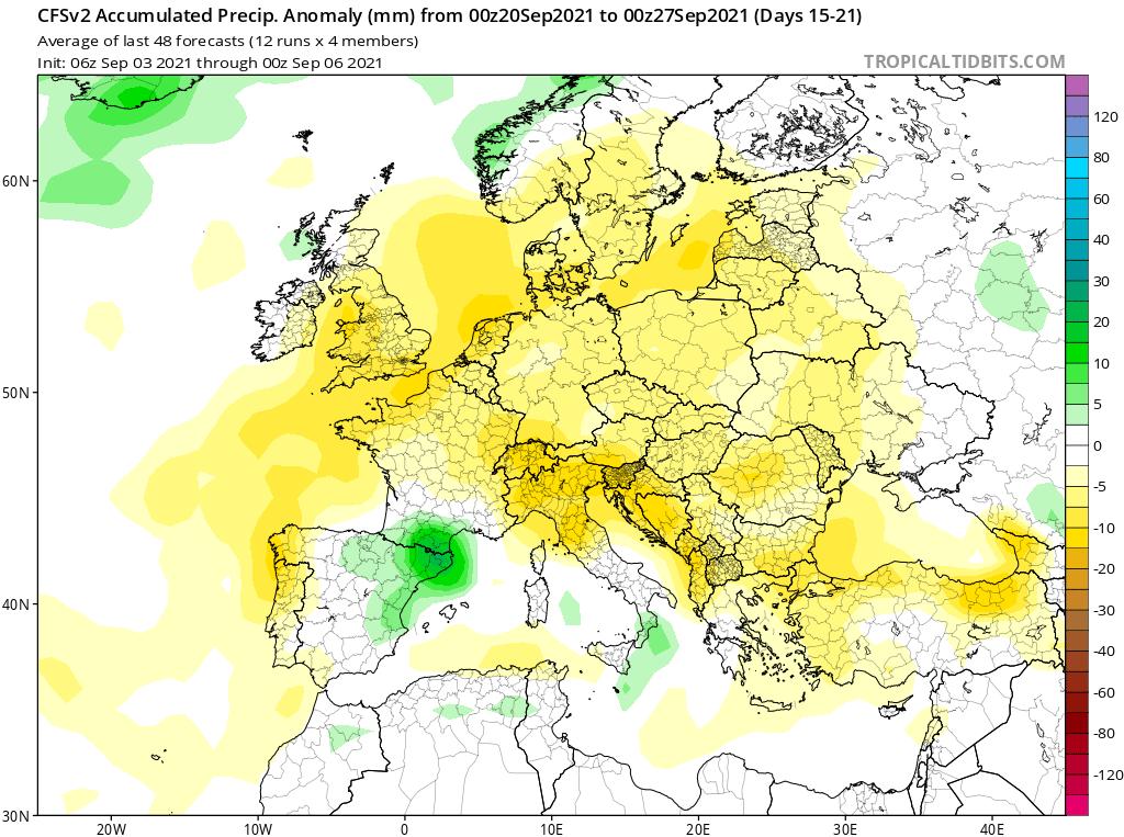 Modelos de Precipitación semanal Septiembre GFS 3ª Semana .Meteosojuela La Rioja