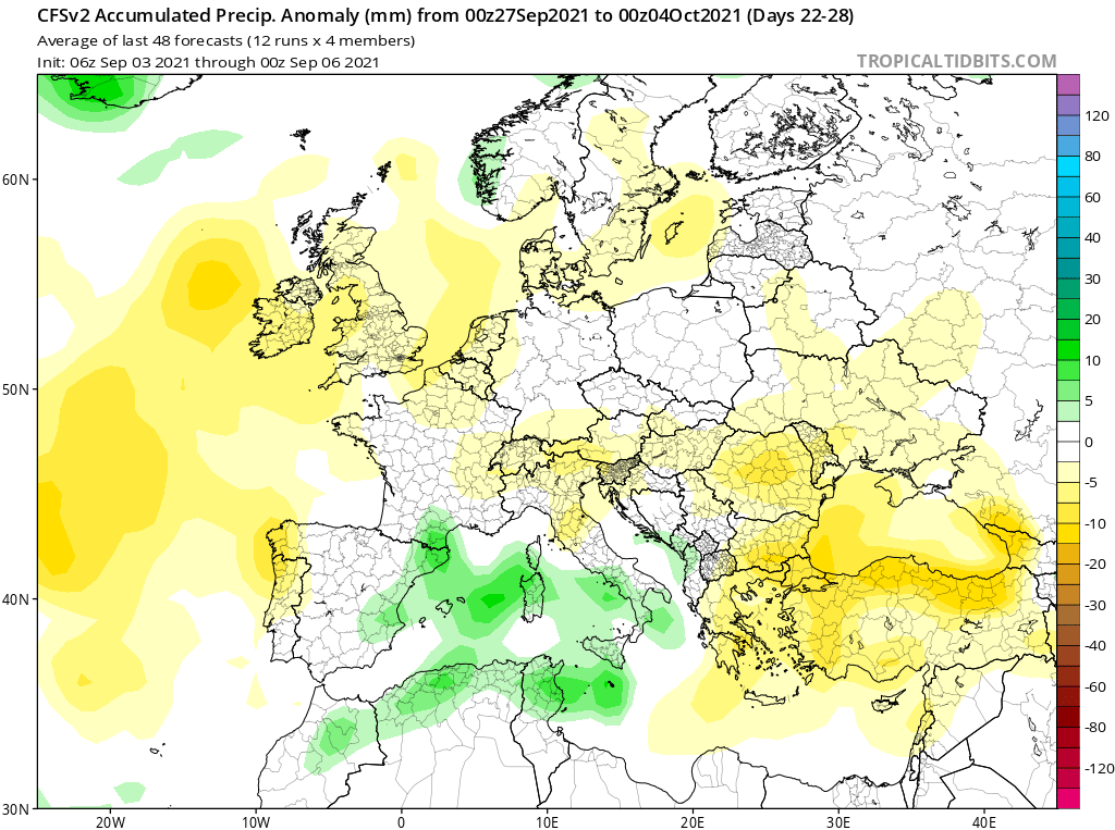 Modelos de Precipitación semanal Septiembre GFS 4ª Semana .Meteosojuela La Rioja