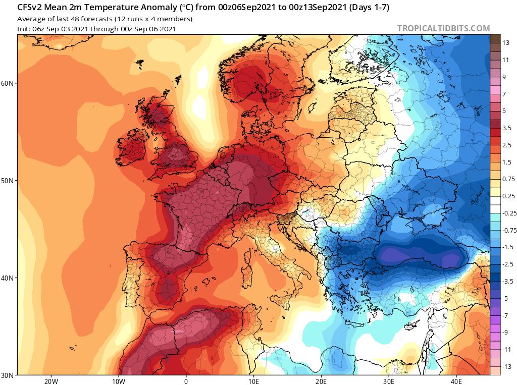 Modelos de Temperatura semanal Septiembre GFS 1ª Semana .Meteosojuela La Rioja