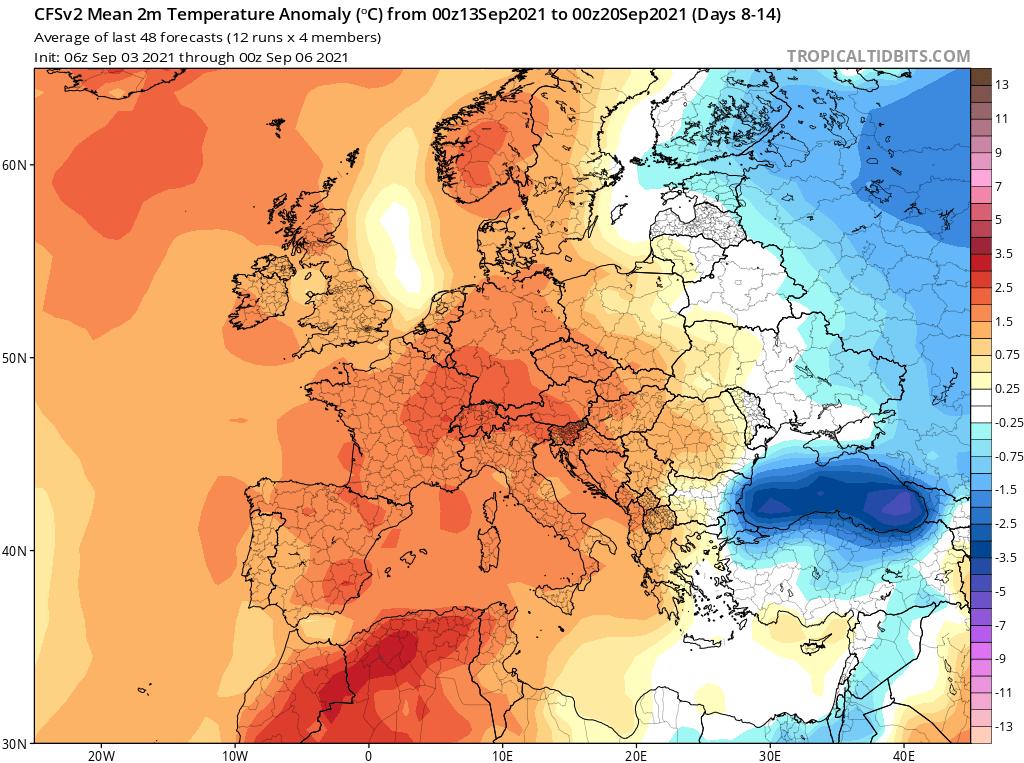 Modelos de Temperatura semanal Septiembre GFS 2ª Semana .Meteosojuela La Rioja