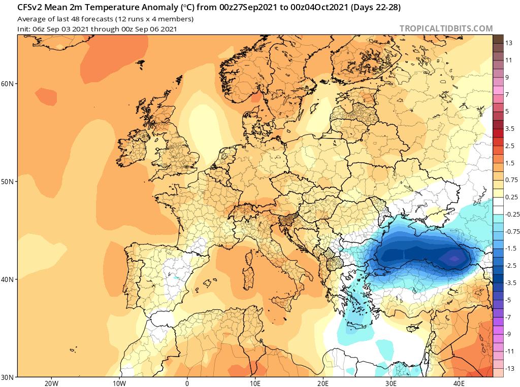 Modelos de Temperatura semanal Septiembre GFS 4ª Semana .Meteosojuela La Rioja