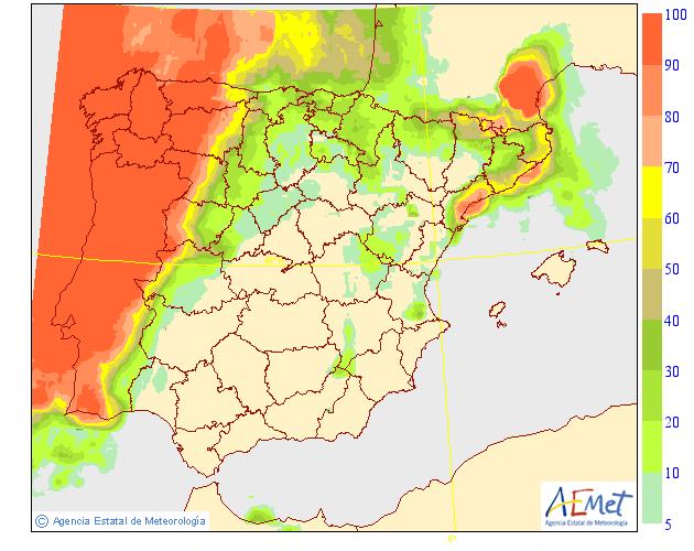 Probabilidad de precipitación según AEMET. 07 Meteosojuela La Rioja