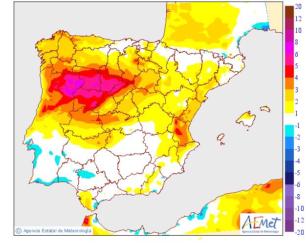 Variación de temperaturas máximas AEMET. 12 Meteosojuela