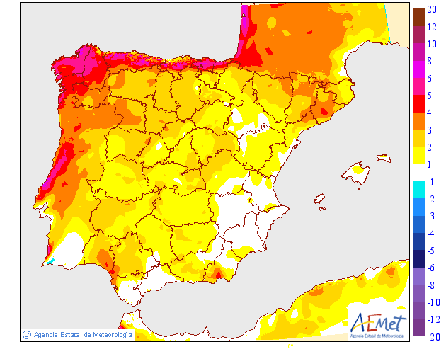 Variación de temperaturas máximas AEMET.05 Meteosojuela